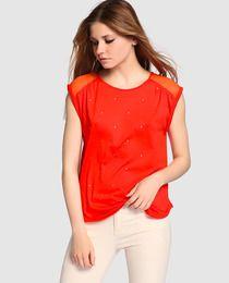 Blusa de mujer Kookai color rojo con tachas