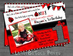 1st Birthday Digital Invitation Ladybug by LetItBeToldPrints