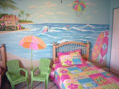 5 Water Theme Ideas For Girls Bedroom : Room Decoration Ideas Girls. bedroom decoration for girls,mermaid theme,room decoration for girls,room decoration ideas girls,underwater theme Bedroom Murals, Bedroom Themes, Girls Bedroom, Wall Murals, Bedroom Decor, Teal Bedrooms, Decor Room, Mural Art, Key West