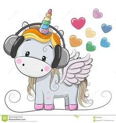 Illustration about Cute Cartoon Unicorn with headphones and hearts. Illustration of computer, child, fairytale - 90293649 Unicorn Fantasy, Unicorn Art, Cute Unicorn, Cartoon Mignon, Baby Poster, Bebe Love, Unicorn Pictures, Cartoon Unicorn, Mosaic Pictures