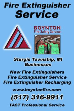 Fire Extinguisher Service Sturgis Township, MI.  (517) 316-9911 Check out Boynton Fire Safety Service.. The Complete Source for Fire Protection in Michigan. Call us Today!