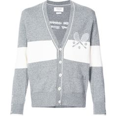 Thom Browne V-neck Cardigan With Striped Tennis Icon In Cashmere ($2,090) ❤ liked on Polyvore featuring men's fashion, men's clothing, men's sweaters, grey, mens v neck sweater, mens v-neck cashmere sweaters, mens gray v neck sweater, mens striped sweater and mens gray sweater