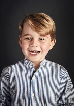 In honor of Prince George's fourth birthday on July 22, 2017, Prince William and Kate Middleton released a smiley portrait of the young royal smiling ear to ear at Kensington Palace.