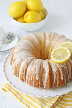 Simply the BEST Lemon Bundt Cake recipe! Fresh lemon zest and lemon juice add th. Simply the BEST Lemon Bundt Cake recipe! Fresh lemon zest and lemon juice add the perfect flavor to this rich, yet fluffy bundt cake. Best Lemon Bundt Cake Recipe, Lemon Cake Frosting, Lemon Cakes, Lemon Glaze For Cake, Lemon Crunch Cake Recipe, Poppyseed Bundt Cake Recipe, Easy Lemon Cake, Pound Cake Icing, Bundt Cake Glaze