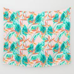 Birds of Paradise Blush Wall Tapestry. #mixed-media #nature #painting #pattern
