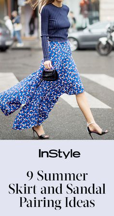 From pleats and metallics to gingham and denim, shop the chicest 9 skirt-and-sandal pairings for summer | from InStyle.com