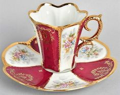 All three are reserved, please do not buy LIMOGES COFFEE CUP(s) And SAUCER(s) Hand Painted This is a beautiful cabinet cup and saucer made in the 1900 -1910 at LIMOGE. It is in excellent vintage condition. It is hand painted inin beautiful colours with flowers and rich gold