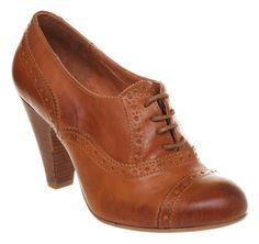 Womens Office Brogue Baby Tan Leather Heels | eBay