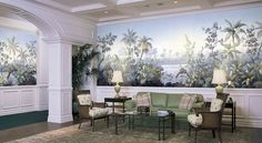 Floridana is a beautiful tropical landscape mural depicting palms, banana trees, and orchids. French Wallpaper, Scenic Wallpaper, Silk Wallpaper, Hand Painted Wallpaper, Tropical Wallpaper, Wallpaper Panels, Painting Wallpaper, Colorful Wallpaper, Custom Wallpaper