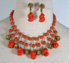 Vtg Art Deco Miriam Haskell Necklace Earring Set Huge Coral Art Glass Beads | eBay