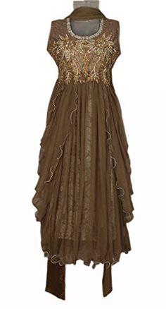 Brown Colour Girls Party Wear Punjabi Suit, Vasundhara Fashions Indian Clothing