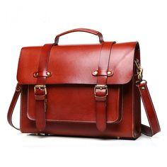 New Women Messenger Bag, Vintage Retro Style, Briefcase One Shoulder Bag Handbag for Business Work Causal, Black / Brown #Affiliate