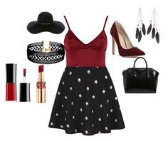 """""""Burning in Burgundy"""" by haschaklover ❤ liked on Polyvore featuring Lipsy, Givenchy, Eugenia Kim, Charlotte Russe, Vanessa Mooney, Yves Saint Laurent and Giorgio Armani"""