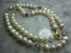 TOM-K-Halskette-Perle-Gold-Amethyst-Rosenquarz-Collier-Charm-Achat-Anhaenger-Biwa