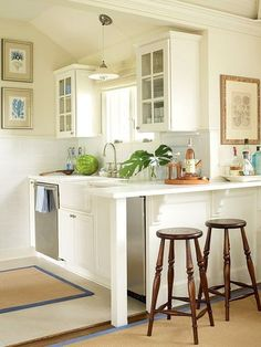 This is actually the EXACT layout of our sink, window, and dishwasher. VERY small L... wouldnd visually block seating area behind L. Im getting convinced.: