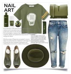 """""""Greeny"""" by hanna0 ❤ liked on Polyvore featuring beauty, MANGO, Steve Madden, Jil Sander, Christys', Origins and Harrods"""