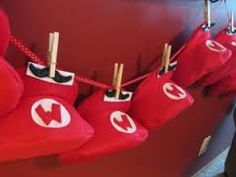 Super Mario / Birthday / Party Photo: Stick-on Mustaches attached with clothespins to the hats by chenbeg Super Mario Brothers, Super Mario Bros, Super Mario Hat, Super Mario Birthday, Mario Birthday Party, Mario Bros., Mario And Luigi, Mario Party, Boy Birthday Parties