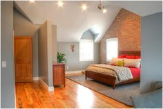 Attic Master Bedroom beautiful top floor bedroom. great way to use the second floor of