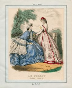 In the Swan's Shadow: Le Follet, July 1864.  Civil War Era Fashion Plate