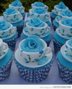 rose in a tea cup cupcakes. change the roses to yellow and we have cute cupcakes for a sorority event? Beautiful Cupcakes, Yummy Cupcakes, Cupcake Cookies, Teacup Cupcakes, Party Cupcakes, Teacup Cake, Elegant Cupcakes, Snowman Cupcakes, Themed Cupcakes