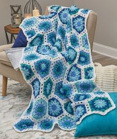 Crochet Hexagon Blues Throw – Free Pattern
