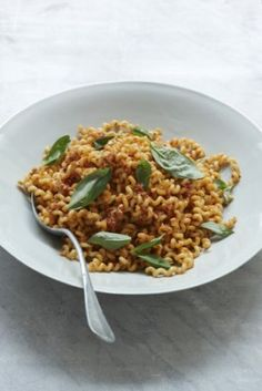 """Sicilian Pasta with Tomatoes, Garlic & Almonds: I have come across more than one version of """"pesto Trapanese"""", the Sicilian pasta sauce from Trapani that differs from the more popularly known Genoese variety in a number of ways. Chief of these is that almonds, not pine nuts, are ground into the mix - a divergence whose origins (in common with a lot of Sicilian food) owe much to Arabic cooking."""