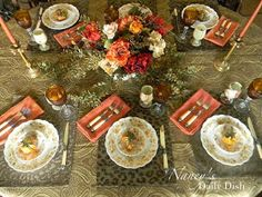 Nancy's Daily Dish: A Melange of Autumn & Thanksgiving Transferware Tablescapes