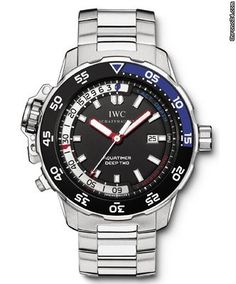 IWC Aquatimer Deep Two $13,517 #iwc #watch #watches #chronograph steel case steel bracelet automatic movement