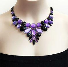 purple and jet black bib rhinestone necklace wedding por BienBijou