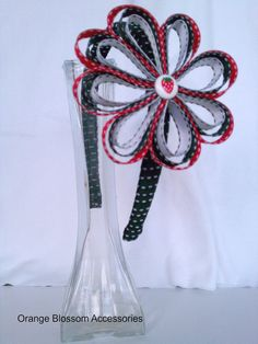 Ribbon Flower Headband- Red, Black, and White with Strawberry Detail on Etsy, $10.49 AUD