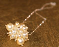 Purely Pearly ... Necklace . Choker . Sterling Silver Chain . Faux Pearl . Cluster . Wedding . Bridal . Funky . Unique