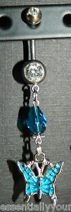 Teal Rhinestone & Crystal Belly Navel Ring NEW Butterfly Charm