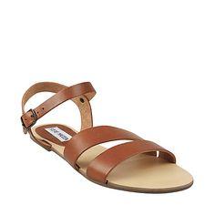 CENTROO COGNAC LEATHER women's sandal flat strappy - Steve Madden