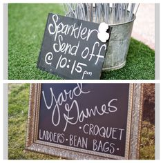 Wedding signage, except no sparklers