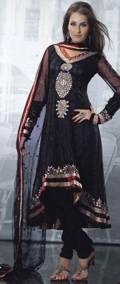 Buy Latest Black Salwar kameez online on Utsav Fashion. Shop from a huge collection of ladies salwar suits incl. Anarkali, Punjabi, Pakistani and more in spellbinding colours. Black Salwar Kameez, Black Anarkali, Anarkali Churidar, Salwar Kameez Online, Anarkali Dress, Anarkali Suits, Punjabi Suits, Pakistani Outfits, Indian Outfits