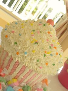 Cupcake-shaped cake -- The rainbow of taffies around it make it even cuter!