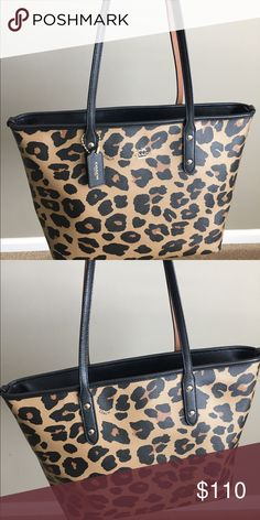 Coach Leopard City Zip In excellent pre owned condition. Coach Bags Totes