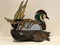 Stained Glass Duck Decoy 3D Art, Baikal Teal Duck Decoy