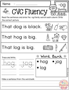 These worksheets help build fluency with tracing, writing and reading. Students also encouraged to use thinking skills by identifying [. First Grade Freebies, Kindergarten Freebies, Homeschool Kindergarten, Preschool, Cvc Worksheets, First Grade Worksheets, Making Sentences, Reading Fluency, Thing 1