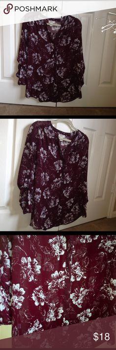 Loft burgundy sheer floral button down Burgundy LOFT Tops Button Down Shirts