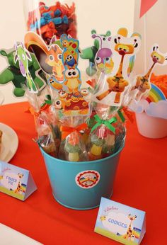 Candy kabobs at a Baby TV birthday party! See more party ideas at CatchMyParty.com!