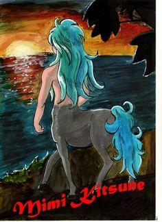 Un Centaure fait à la gouache et aux crayons de couleur.