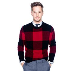 J.Crew Gift Guide: men's buffalo plaid sweater.