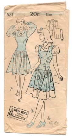 New York pattern - circa 1940s  Size: 19 Bust: 37 Waist: not listed Hips: 40  Pattern: MISSING #6 (Yoke Front) and #8 (Collar) and comes with instructions (which are fading, but still usable). Envelope: Poor vintage condition, fading, tearing and weak edges. Will be mailed in an acid-free baggie.   This item comes from a SMOKE-FREE home.  Not the right size, no problem! Follow the link below to learn how resize any pattern: http://indietutes.blogspot.com/2008/09/resizing-pattern.html  Please…