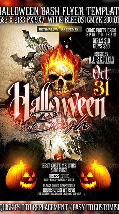 Halloween Bash Flyer Template by Mexelina   GraphicRiver