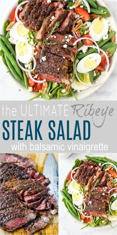 The Ultimate Ribeye Steak Salad made steakhouse style Filled with green beans hardboiled eggs goat cheese and drizzled with a Balsamic Vinaigrette This classic steak salad makes the perfect dinner and is done in 30 minutes healthy glutenfree easy # Beef Recipes, Cooking Recipes, Healthy Recipes, Cooking Ham, Cooking Fish, Steak Salat, Salad With Balsamic Dressing, Steak Salad Dressing, Salad With Steak