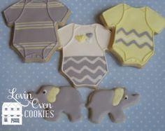 1 Doz Baby Onesie & Elephant Decorated Sugar Cookie - Shower Favor / Gift