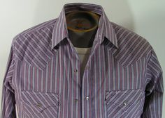 pearl snap western shirt mens medium M blue gray by moivintage, $19.99