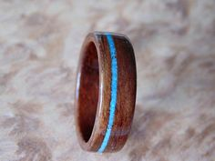 Bentwood ring Walnut and Turquoise wood wedding band wooden ring Prolly wouldn't use walnut, though