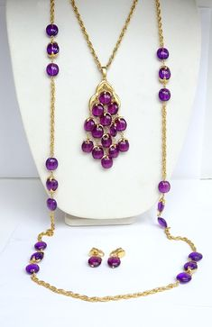 Purple!   #etsy shop: Exquisite Crown Trifari Purple Lucite Waterfall Necklace, Companion Necklace & Earrings – Book Piece – Vintage Jewelry https://etsy.me/2qjuMI9 #jewelry #purple #gold #necklace #no #crowntrifari #waterfall #purplelucite #dangleearrings